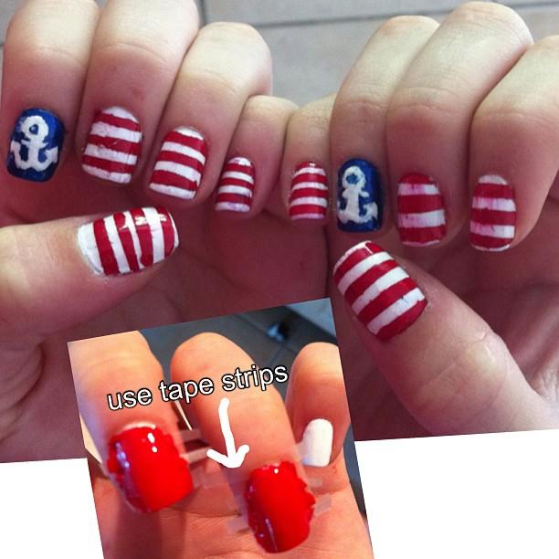 Sailor Nails #nails #nailart #beauty #nailpolish