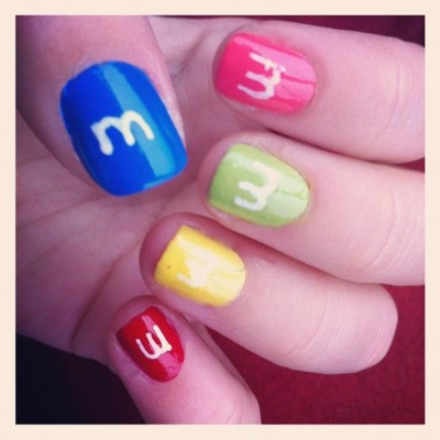 M&M candy nail art